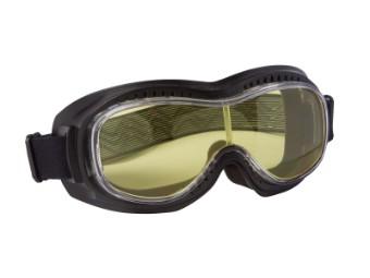 Biker Motorradbrille mit gelb getönten Gläsern für Brillenträger geeignet