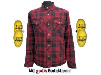 Motorrad Bikerhemd Aramid Lumberjack + Gratis Protektoren