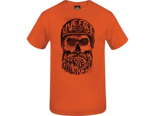 T-Shirt Inscribed Skull Neon Orange