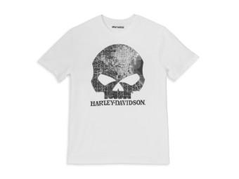 T-Shirt Milwaukee Map Skull Graphic White