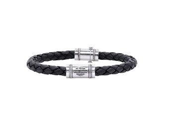 Armband Leather & Silver Rope