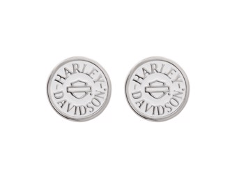 Ohrstecker Round White Colored Enameled