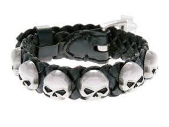 Lederarmband Skull