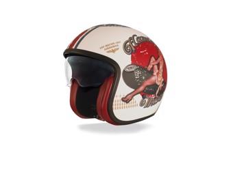 Vintage Helm, Premier, Pin Up weiß