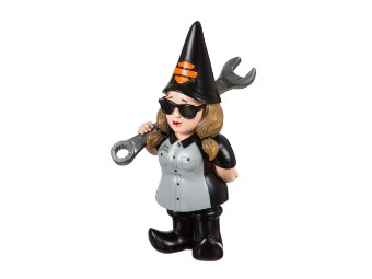 HD Female Mechanic Gnome Damen Gartenzwerg