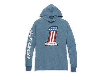#1 Race Slub Jersey Hooded Graphic Tee Blau für Herren