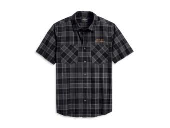 Flaming Skull Patch Plaid Shirt Hemd