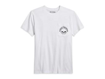 Skull Pocket White Tee T-Shirt