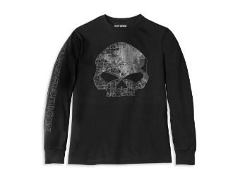 Milwaukee Map Skull Black Long Sleeve Graphic Tee Shirt