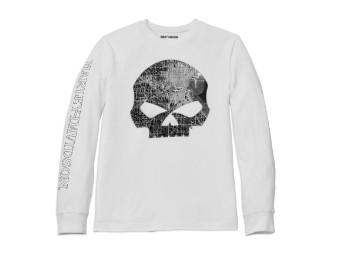 Milwaukee Map Skull White Long Sleeve Graphic Tee
