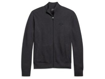 Zip Front Logo Melange Grey Sweater