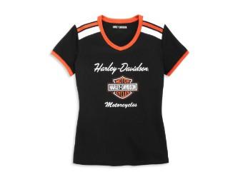 Iconic V-Neck Shoulder Stripe Tee Damen T-Shirt