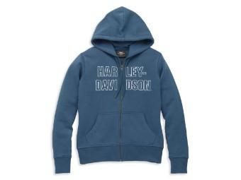 Font Embroidered Blue Hoodie Damen Sweatshirt