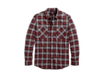 Shoulder Graphic Plaid Shirt Hemd
