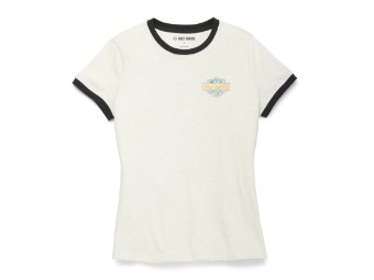 Racer Font Ringer Graphic Tee Damen T-Shirt