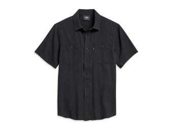 Textured Herringbone Shirt Kurzarm Hemd