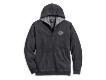 Winged Logo Zip-Front Hoodie Sweatshirt