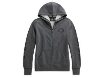 Skull Zip-Front Hoodie Damen Sweatshirt