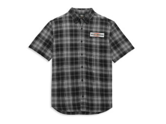 Stacked Graphic One Pocket Plaid Shirt Hemd