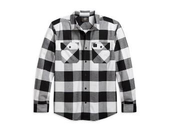 Buffalo White Plaid Shirt Langarm Hemd