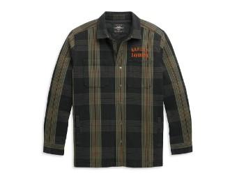 Arched Logo Plaid Shirt Hemd Jacke