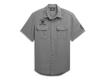 Skull Logo Textured Shirt Hemd