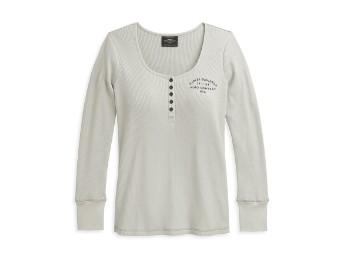 Rose Graphic Henley Knit Top Damen Longsleeve