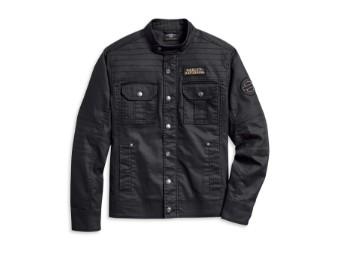 Flaming Skull Patch Denim Shirt Jacke