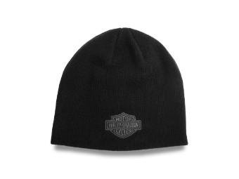 Contrast Bar & Shield Asphalt Knit Hat Mütze