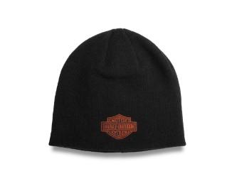Contrast Bar & Shield Vintage Orange Knit Hat Mütze