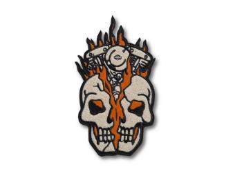 Skull Bust Iron-On Patch Aufnäher