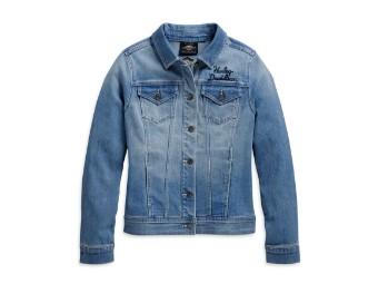 Winged Logo Denim Damen Jeans Jacke