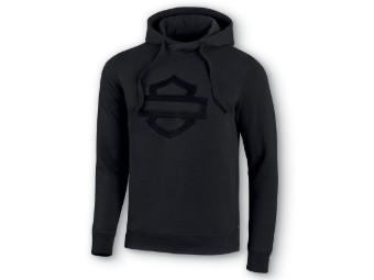 Embossed Black Logo Pullover Hoodie Sweatshirt