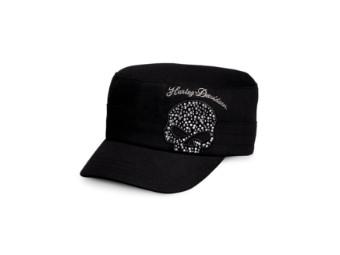 Black Crystal Skull Flat Top Cap Damen Schirmmütze