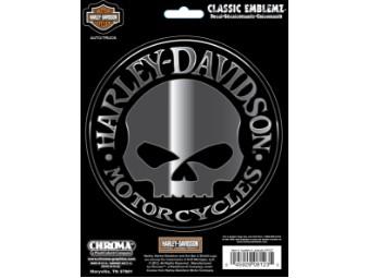 Classic Emblem Skull Chrome Aufkleber