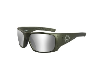 Wiley X Keys Silver Flash Utility Green Motorrad Brille