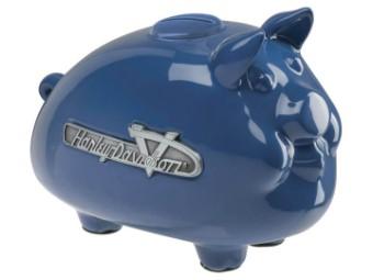 1950er Jahre Tank Graphic Hog Bank Blau Sparschwein