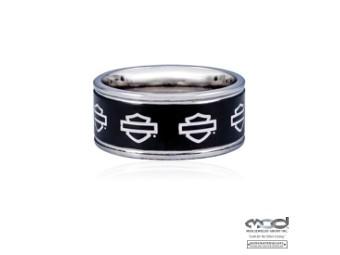 MOD Outline B&S on Black Steel Band Ring