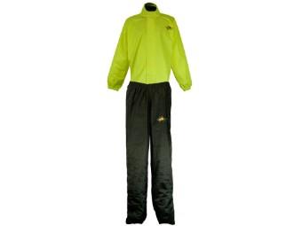 zweiteilige Regenkombi Jacke und Hose Neongelb Schwarz