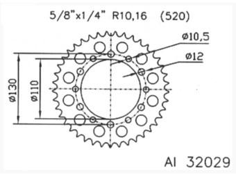 Alu Kettenrad #520-44 d:110mm D:130mm 6-Loch