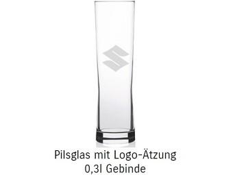 Pilsglas SUZUKI mit Logo Prägung