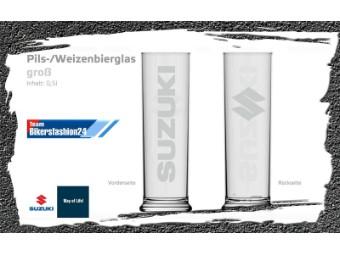 Bierglas SUZUKI mit Logo Prägung
