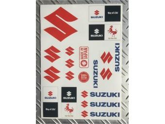A-4 Stickerbogen mit verschiedenen Suzuki Logos