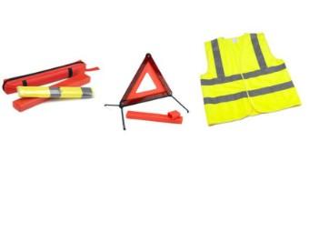 Sicherheitsset enthält Warndre ieck und Warnweste