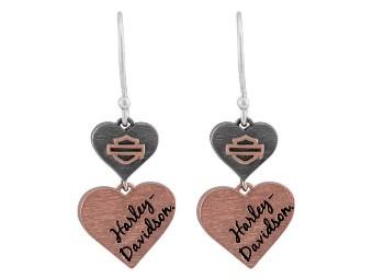 "Ohrringe ""Pink & Black Double Heart"""