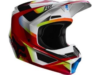Youth V1 Motif Helmet - red / white
